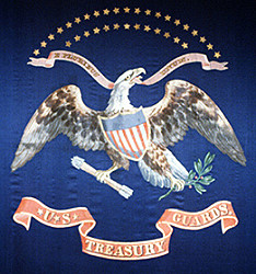 Detail of Regimental Color U.S. Treasury Guards Displayed on Presidential Box, Ford's Theater, April 14, 1865 Source: National Park Service